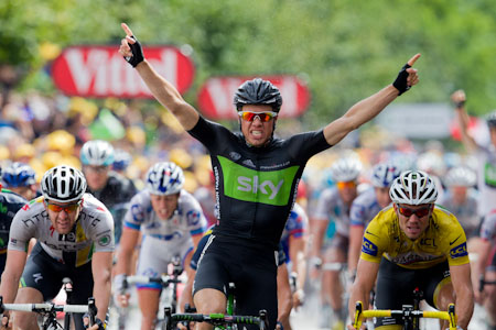 TDF Edvald Boasson Hagen takes out stage 6 in front of Goss and Hushovd.
