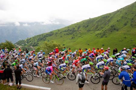 TDF The main group ride together near the top of Luz-Ardiden