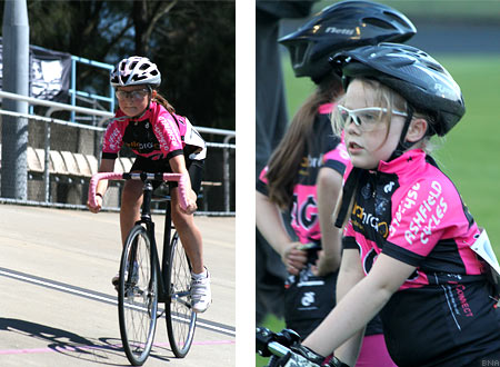 Girls cycling training