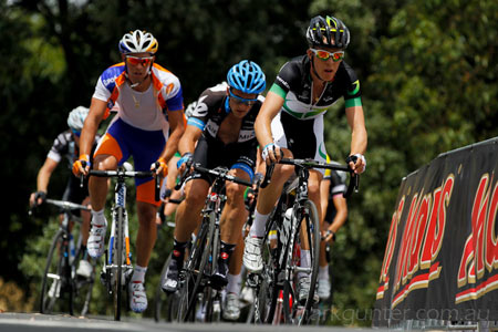 Australian Road Championships - Cameron Meyer leads an elite group up the top of the climb.