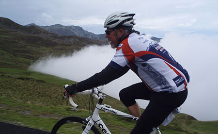 Trans-Pyrenees Aubisque Climbing through Clouds