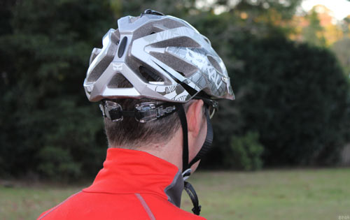 Rear view of Author John Hawkins wearing the Kali Amara Helmet