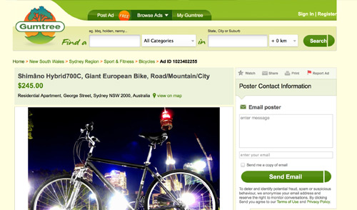 Fraud Scam Gumtyree Bike Bicycle