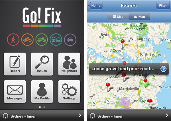 Go! Fix App Cycling Bicycle Street Report Problems