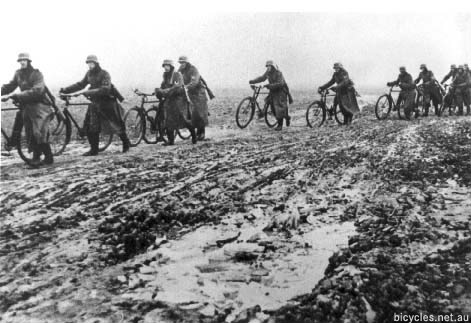 Frozen Germans Soldiers Bicycles Eastern Front